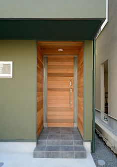 CASE403 オリーブグリーンな家 Olive Green, Concrete, Garage Doors, Outdoor Decor, House, Home Decor, Green Facade, Home, Decoration Home