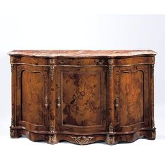 """FREE SHIPPING IN THE US. USE CODE LOVE10OFF FOR 10% OFF YOUR ENTIRE PURCHASE.  Dutch style curved front credenza in walnut burl veneer with an inlaid floral design of boxwood, three curved doors, Partridge pink Breccia marble top, antiqued brass trim, one drawer and one shelf inside.  Free Shipping in the US.  Measures: 75½"""" w. x 17½"""" d. x 43¼"""" h. Made in Italy."""