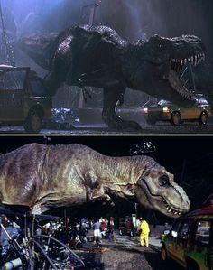 escenas del cine antes y después de los efectos especiales Jurassic Park