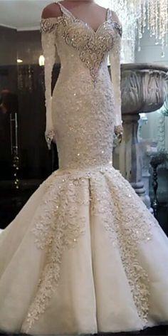 Glamorous White Lace Mermaid Beads Wedding Dress  7e034496a