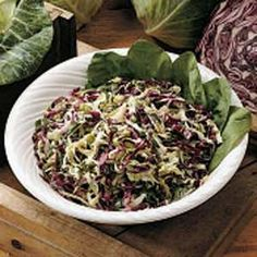 Need coleslaw recipes? Get coleslaw recipes for your next meal or gathering. Taste of Home has lots of coleslaw recipes including coleslaw dressing recipes, creamy coleslaw recipes, and more coleslaw recipes and ideas. Red Cabbage Recipes, Red Cabbage Salad, Best Summer Salads, Vegetarian Cabbage, Slaw Recipes, Coleslaw, Soup And Salad, Spinach, Side Dishes