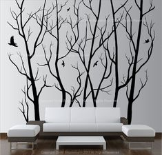 Large Wall Art Decor Vinyl Tree Forest Decal Sticker (Choose Size And Color)