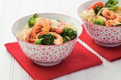 Kijk wat een lekker recept ik heb gevonden op Allerhande! Garnalen en broccoli in ketjapsaus