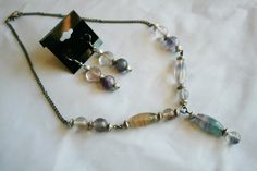 Fluorite Stone Necklace and Earring set by CrystalLuvJewelry, $25.00