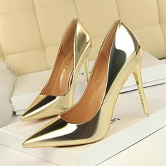 Bigtree Shoes New Patent Leather Wonen Pumps Fashion Office Shoes Women Sexy High Heels Shoes Women's Wedding Shoes Party Sexy High Heels, Gold High Heels, Leather High Heels, Womens High Heels, Patent Leather, Pu Leather, Metallic Heels, Silver Shoes, Platform Shoes Heels