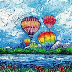 Hot Air Balloon Wall Art Print van Gogh Colorful Happy Landscape Up In The Air by Aja and choose size Balloon Wall, Air Balloon, Balloons, Canvas Wall Art, Wall Art Prints, Canvas Prints, Starry Night Art, Landscape Art, Bunt