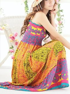 Printing slim fit strap Bohemian dress