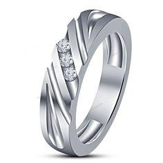 Size 7-14  Simulated Diamond Three Stone Men's Band Ring 14K White Gold Finish #beijojewels #MensBandRing #EngagementWeddingAnniversaryPartyWear