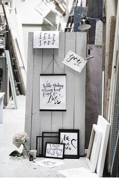 Brush Lettering www.pandurohobby.com Wall art by Panduro #decoration #DIY #brushlettering #frame