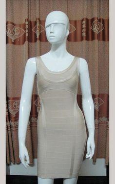 b7fb8ce9c32fe Scoop Neck Beige Herve Leger Bandage Short Dress