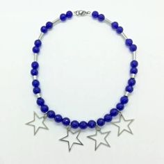Blue jade necklace with stainless steel stars Jade Necklace, Beaded Bracelets, Stars, Blue, Stainless Steel, Jewelry, Jewlery, Jewerly, Pearl Bracelets