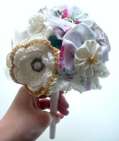 crochet and fabric wedding bouquet tutorial