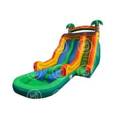 Big The Tropical Wave Inflatable Water Slide by Magic Jump - Bounce Houses Now Commercial Water Slides, Bounce Houses, Things That Bounce, Running Shoes, Tropical, Waves, Magic, Big, Sneakers