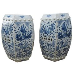 Hexagonal Chinese Blue and White Garden Seats/Stools | From a unique collection of antique and modern ceramics at http://www.1stdibs.com/furniture/asian-art-furniture/ceramics/