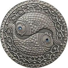 Zodiac Coins Pisces - Belarus 20 Rubles Silver Coin, Swarovski elements.