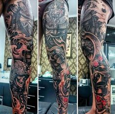 Today, millions of people have tattoos. From different cultures to pop culture enthusiasts, many people have one or several tattoos on their bodies. While a lot of other people have shunned tattoos… Hannya Samurai, Samurai Maske Tattoo, Samurai Tattoo Sleeve, Leg Sleeve Tattoo, Leg Tattoo Men, Best Sleeve Tattoos, Rose Neck Tattoo, Samurai Helmet, Japanese Warrior Tattoo