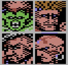 Character portraits from the Commodore 64 version of Street Fighter II. Yes, there's a Commodore 64 version of Street Fighter II and yes, it's terrible.