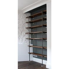 Sebastian Reclaimed Scaffolding Boards and Steel Pipe Wall Mounted and... ❤ liked on Polyvore featuring home, furniture, storage & shelves, bookcases, shelf furniture, shelf book case, shelves furniture, salvage furniture and shelves bookcases