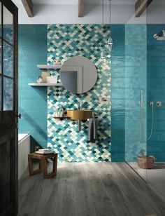 Crystalline water laps the ceramic surface, warming it with the setting sun. Shades has drawn its inspiration from the Mediterranean light, colours and sensations that only unique nature can evoke. Incredible mosaic and double-fired wall tiles from Imola. Beach House Bathroom, Modern Bathroom, Small Bathroom, Bathroom Plants, Bathroom Trends, Bathroom Renovations, Bad Inspiration, Bathroom Interior Design, Diy Bedroom Decor