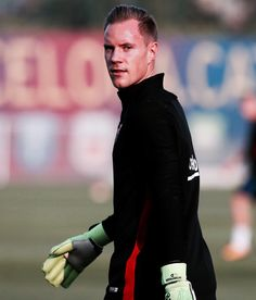 Marc-André ter Stegen during a training session prior the LaLiga match between FC Barcelona and RCD Espanyol de Barcelona, held at Ciutat Esportiva Joan Gamper on September 8, 2017 in Barcelona,...