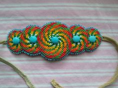 Hand Beaded Bracelet/Cuff Tropical Breeze by CatawbaNativeDesigns (Shawn Stover) on Etsy