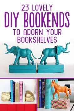 23 Lovely DIY Bookends to Adorn Your Shelves. Can't decide which one is our favorite. Which idea do you love or have tried yourself?