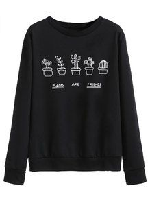 Black Plants Print Sweatshirt