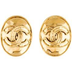 Pre-owned Chanel CC Oval Clip On Earrings ($225) ❤ liked on Polyvore featuring jewelry, earrings, gold, chanel, oval earrings, pre owned jewelry, clip-on earrings and chanel jewelry
