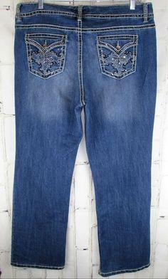 898a4f928e332 Nine West womens 16/32 Stretch Straight Jeans 40x31.5 Flap Pockets  Embellished #