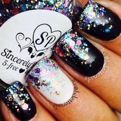 black mani w/white accent finger ~ all finished w/multi-color glitter | Bernadette @Bdettenails Instagram photos | Webstagram