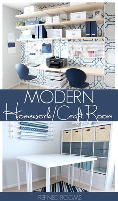 Modern Homework/Craft Room Reveal It's One Room Challenge REVEAL Time! Can't wait to take you on a tour of our modern homework/craft room reveal! Home Office Design, Home Office Decor, Diy Home Decor, Office Ideas, Office Hacks, Craft Room Decor, Craft Room Storage, Craft Rooms, Paper Storage
