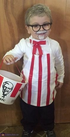 KFC Colonel Sanders Kentucky Fried Chicken Halloween Costume idea cute for kids and fast food costumes. Easy DIY Halloween costume for toddlers, kids or adults. Creative easy ideas to dress your kids for Halloween. Group or family costumes ideas for Hall Kids Costumes Boys, Diy Halloween Costumes For Kids, Halloween Costume Contest, Homemade Kids Costumes, Family Costumes, Diy Quick Halloween Costumes, Toddler Girl Halloween Costumes, Diy Toddler Halloween Costumes, Easy Last Minute Costumes