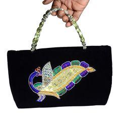 Black Velvet Ethnic Peacock Party Womens Hand Made HandBag Festive Season Sale ! #Arishakreationco #HandBag