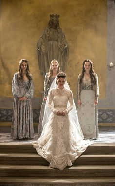 Reign from Best TV & Movie Wedding Dresses  No, Monique Lhullier wasn't designing wedding gowns during the time when Mary, Queen of Scots wed King Francis II. But this reimagined wedding gown for the Reign royal nuptials is every inch the regal garment the queen would've demanded.