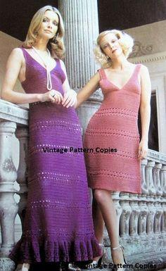 INSTANT PDF 1970s Vintage Crochet  Dress Pattern Crocheted Lace Halter Maxi Sun Dress Evening or Cocktail Length Ideal Bohemian Bridal Dress...