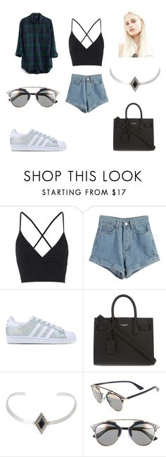 """""""REAL LIFE"""" by laura-melissa-cortes on Polyvore featuring Topshop, Madewell, WithChic, adidas Originals, Yves Saint Laurent, Christian Dior, women's clothing, women's fashion, women and female"""
