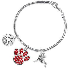 Lead and Cadmium Free Nickel Red Paw Crystal Cheer 3 Charm Bracelet Safe-Hypoallergenic