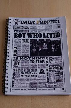 """Cuaderno anillado con tapa del diario El Profeta """"El niño que vivió"""" #HarryPotter"""