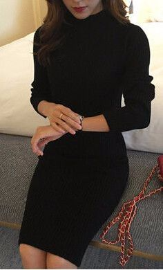 Knit Turtleneck Sweater Dress Dresses Length: Above Knee, Mini Neckline: Turtleneck Silhouette: Sheath