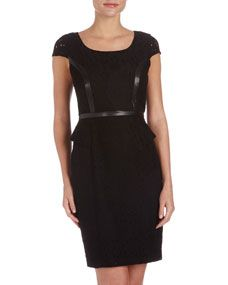 Flower Eyelet Faux-Leather Dress, Black --A cross of office wear and warrior queen.