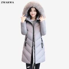 Large Size Loose Coat Slim Jacket Winter Women Long Outwear Big Fur Collar Cotton Overcoat Hooded Plus Size