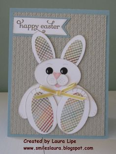 Easter card from Smiles, Laura . chubby sitting punch art bunny with patterned paper pads and ears . Easter Projects, Easter Crafts, Punch Art Cards, Cool Cards, Kids Cards, Greeting Cards Handmade, Scrapbook Cards, Homemade Cards, Cardmaking