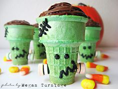 Super+adorable+Frankenstein's+Monster+cupcakes+in+green+ice+cream+cones