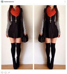90104e868 Black Corduroy Jumper Overall Skirt + Striped Tee