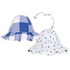 ca9dbb968e7 Baby Girls Blue Reversible Sun Hat
