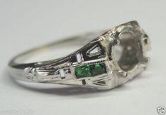 Antique Diamond Engagement Ring Setting Mounting 6mm 18K Size 5.75 UK-L Mount