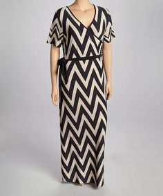 Love this Taupe Zigzag Wrap Dress - Plus by Spin on #zulily! #zulilyfinds