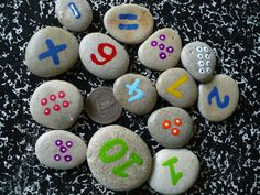 rocks instead of flash cards - makes it more tactile COUNTING ROCKS childrens math game by madeforfun on Etsy, $24.00