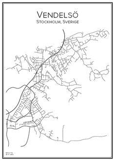 Vendelsö. Stockholm. Sverige. Map. City print. Print. Affisch. Tavla. Tryck. Stadskarta.
