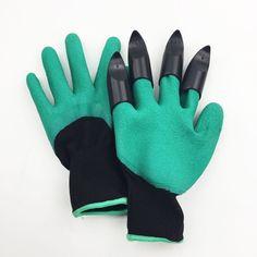 2pairs/lot Green Rubber Garden Gloves Home Garden Digging Planting Hands  Protecting Gardening Work Glove